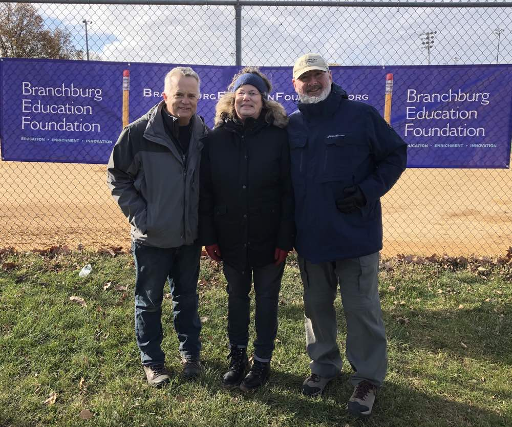 "Greg Confer, President of the Branchburg Education Foundation along with Mindy Goldberg and Dr. Lon Goldberg, of Access Medical Associates, during the ""Make Room for Turkey"" 5K on Sunday, November 17, 2019."